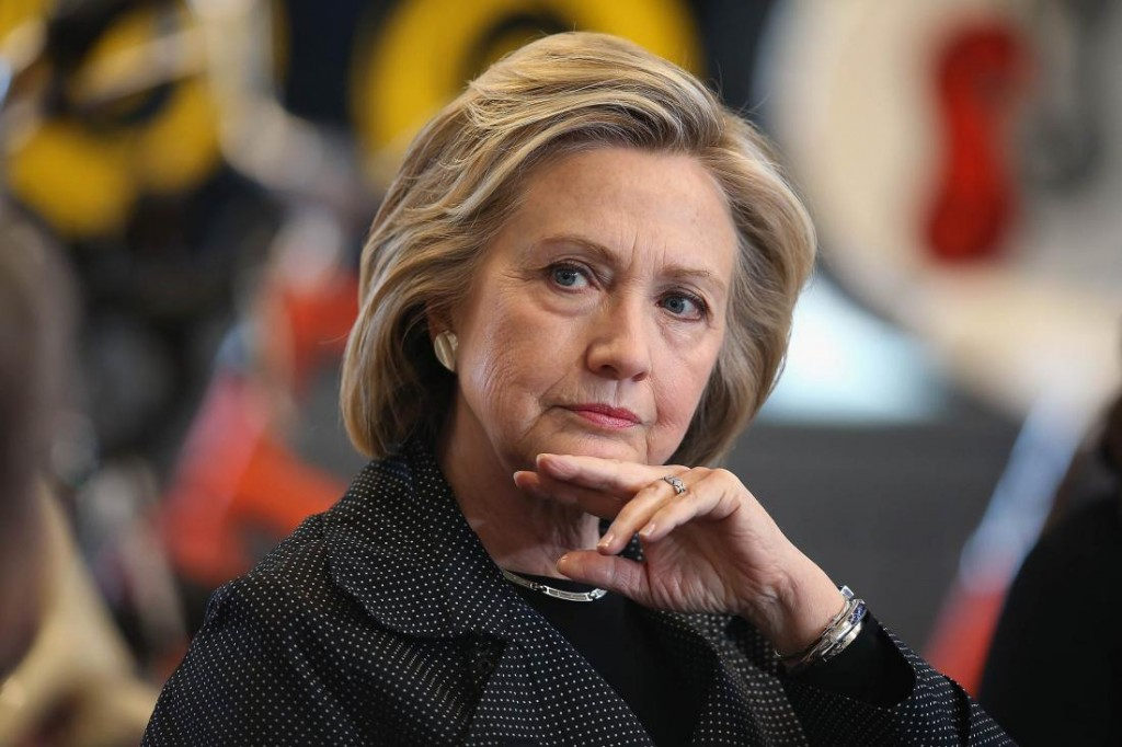 Clinton at a campaign stop in Iowa