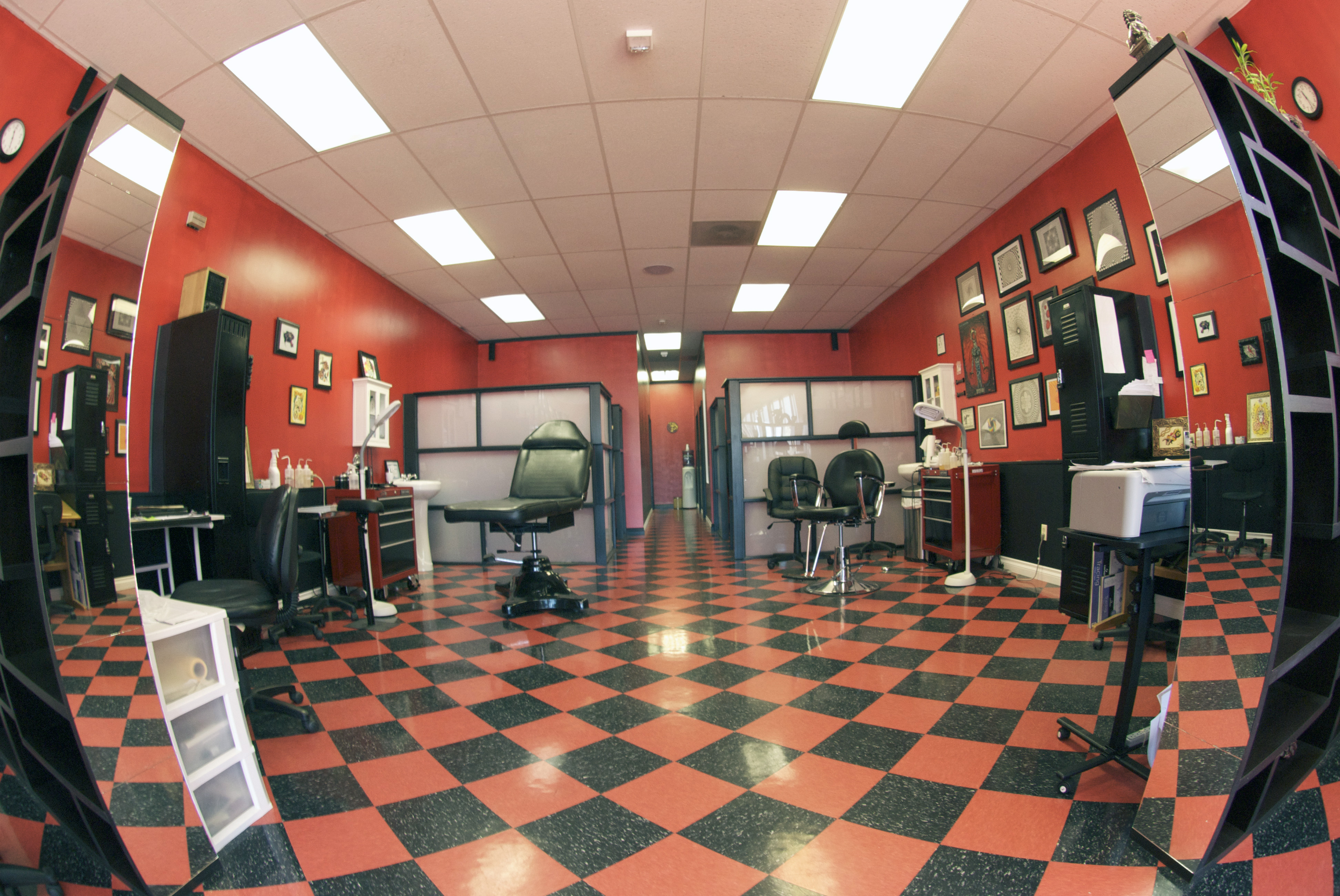 The interior of a tattoo shop