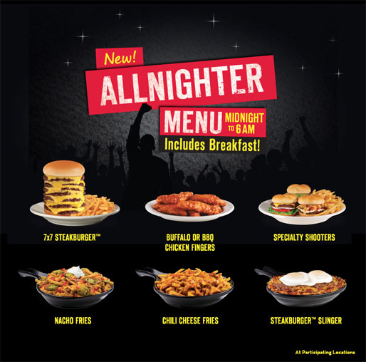 Steak n Shake's Up All Night Menu