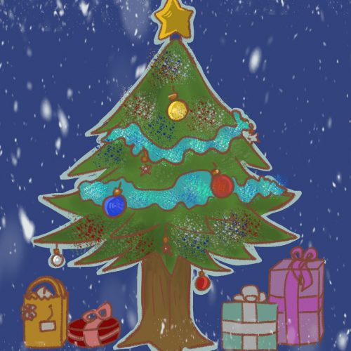 Illustration of a Christmas tree by Ashawna Linyard
