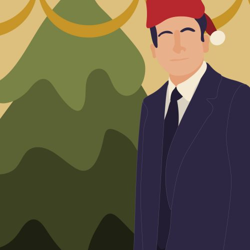 An illustration by Natasha McDonald of an abstracted Michael Scott of 'The Office' by a Christmas tree.