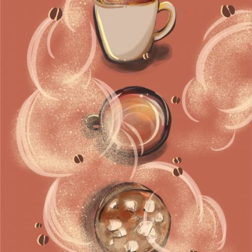 An illustration of different Starbucks drinks by Alice Yuan