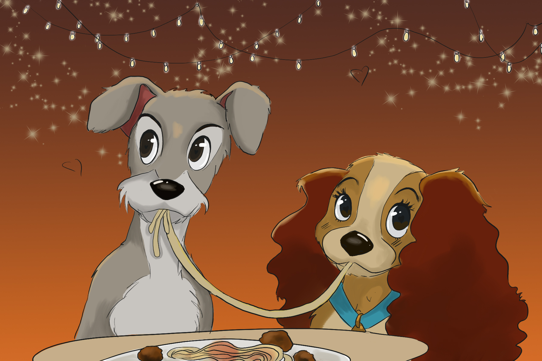 Lady and the Tramp illustration by Ashawna Linyard for Caleb Dukes' article