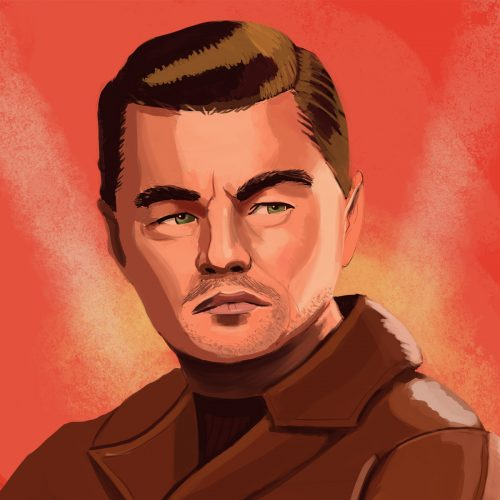 An illustration by Andrew Moghab of Leonardo DiCaprio from the film 'Once Upon a Time... in Hollywood'
