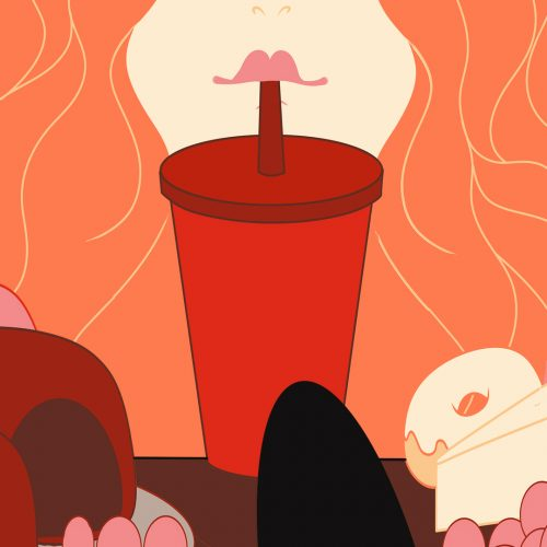 illustration by Amanda Morgan of someone drinking out of a cup with a straw