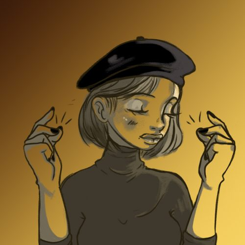 An illustration by Ashawna Linyard of a beret-clad poet