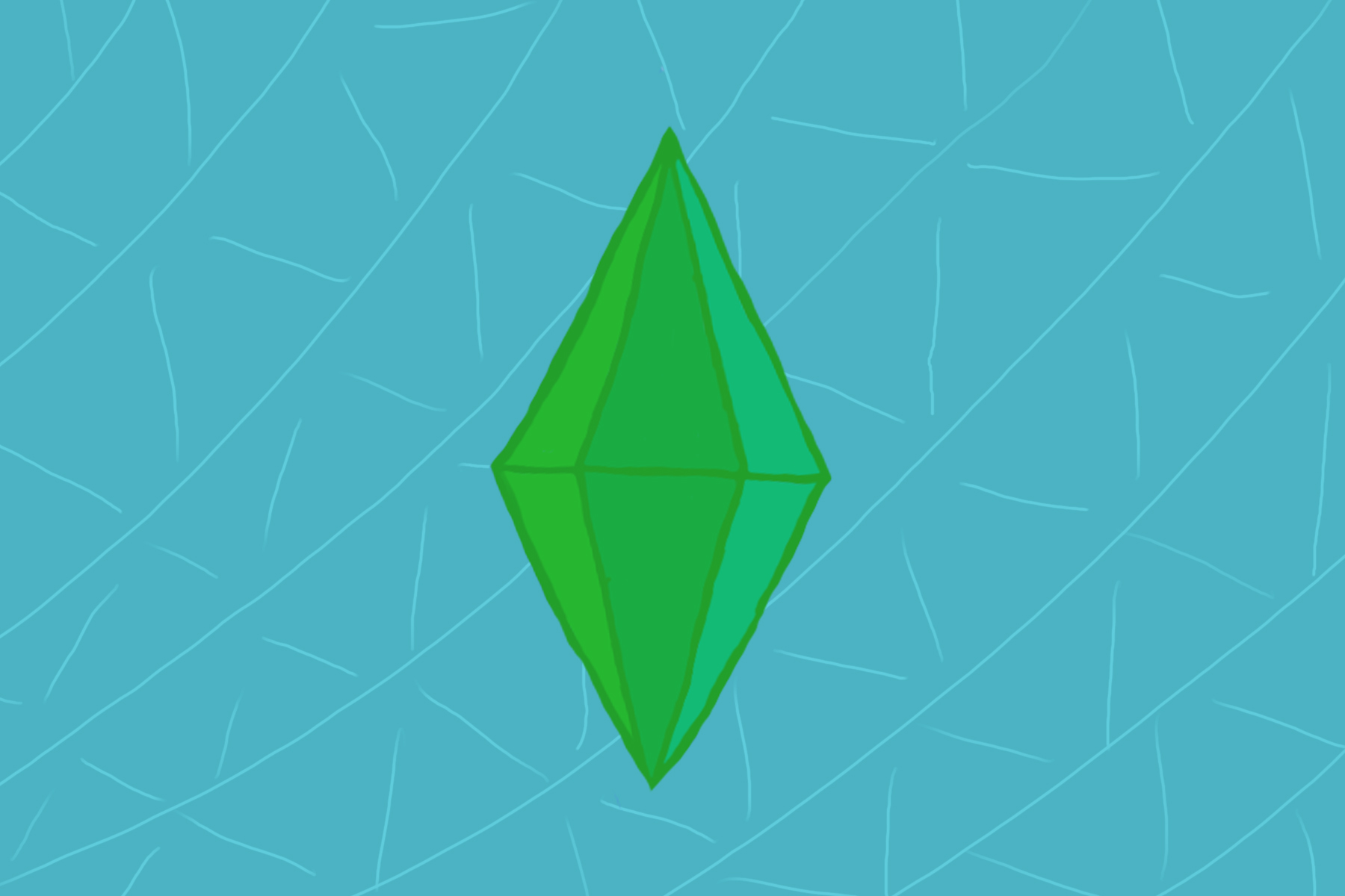 Illustration of plumbob from Tiny Living, a Sims 4 expansion