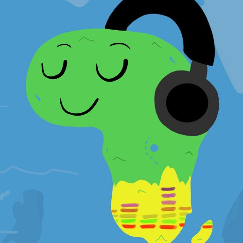 Illustration by Andrew Moghab of a cartoon continent of South Africa with headphones on