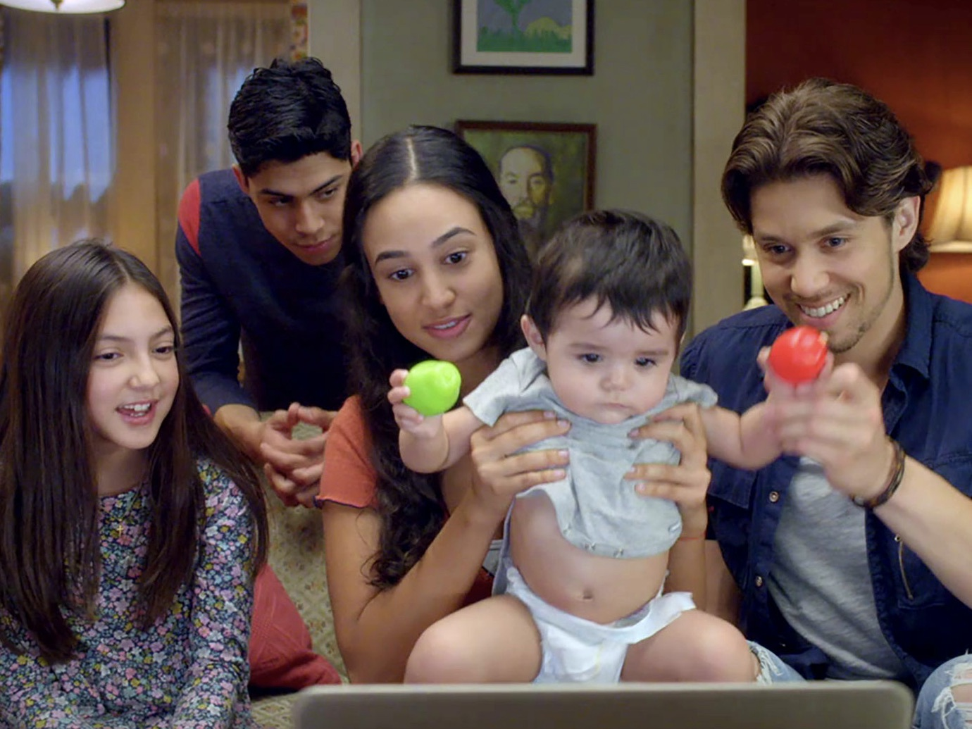 "Picture of ""Party of Five"" family on video chat with parents"