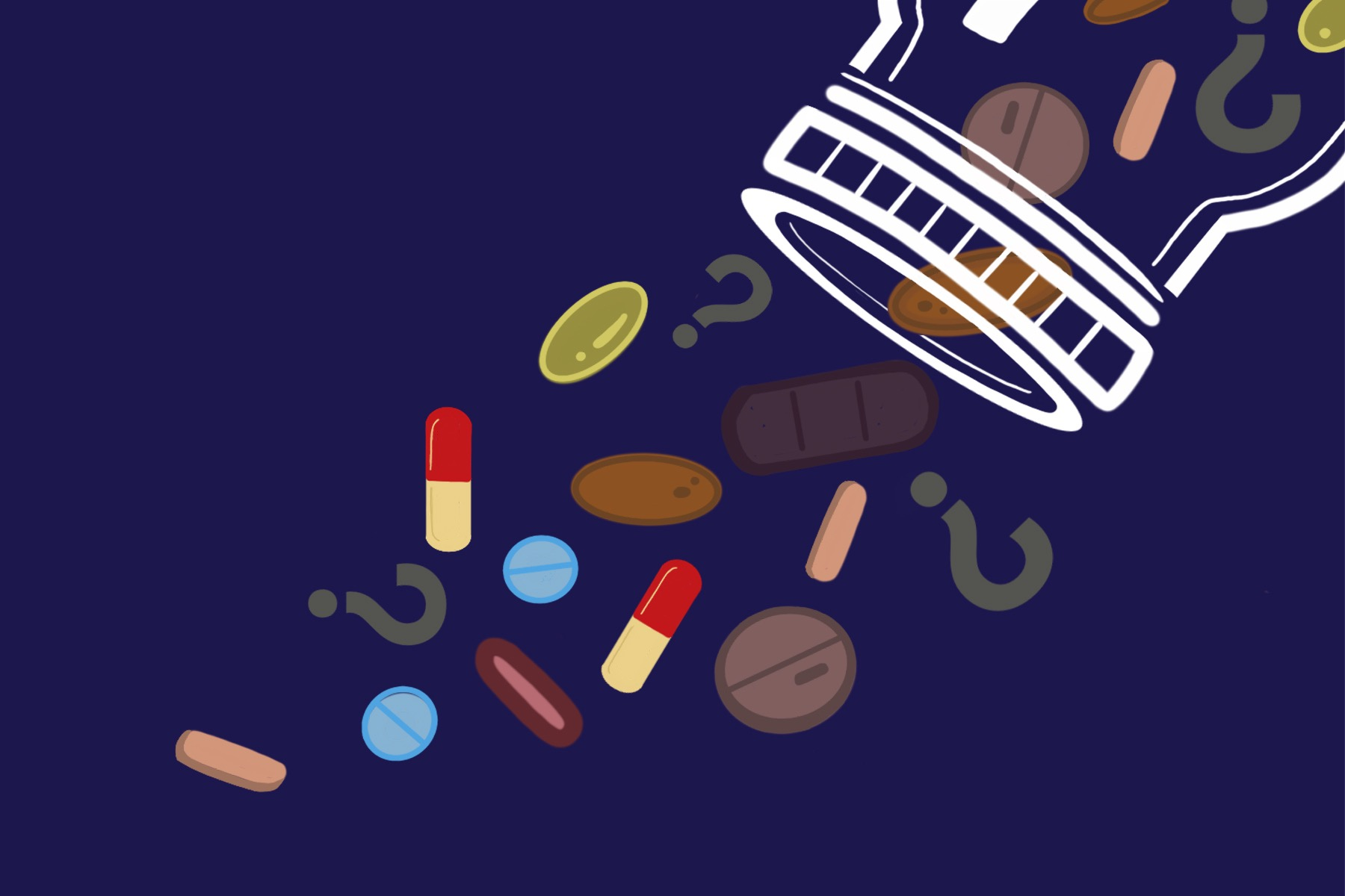 Illustration of supplements falling out of a bottle