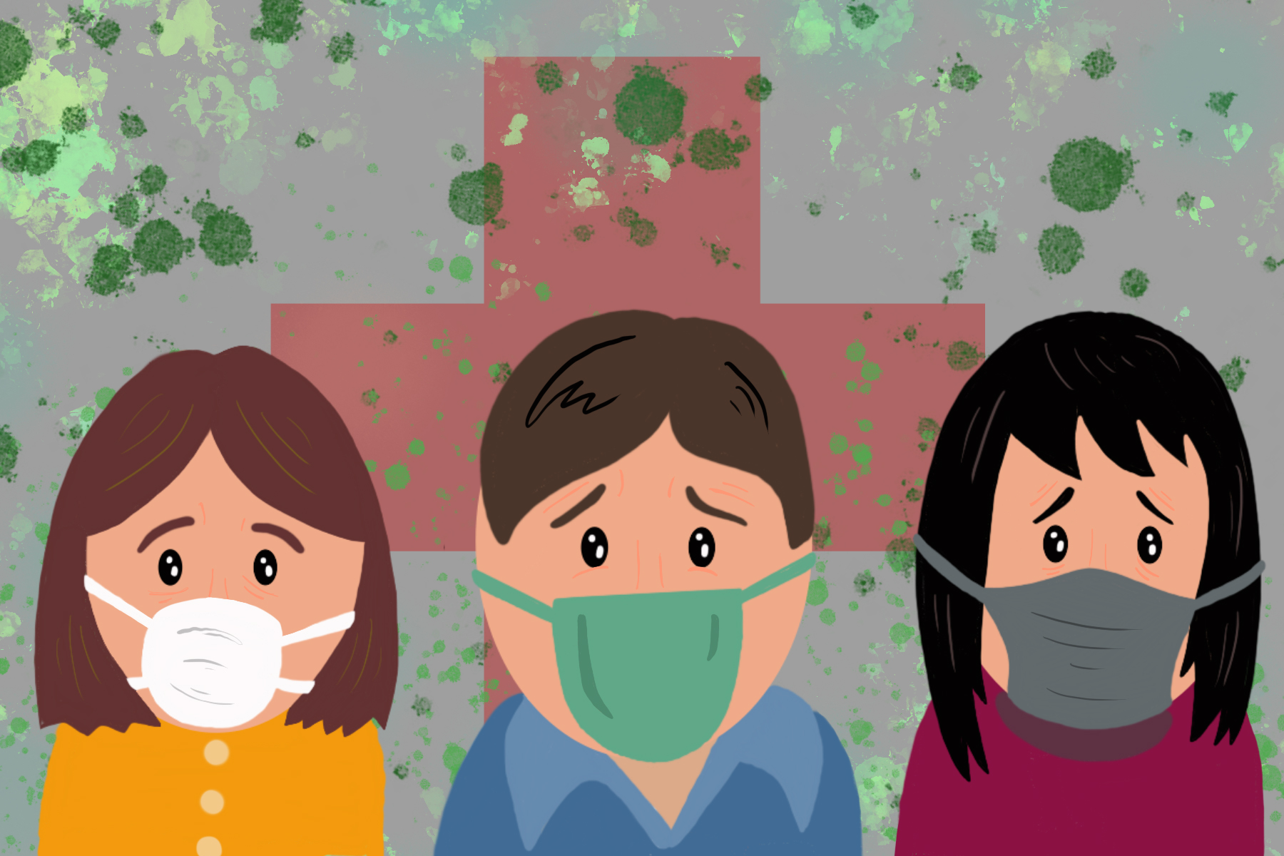 Illustration of people wearing masks to avoid coronavirus