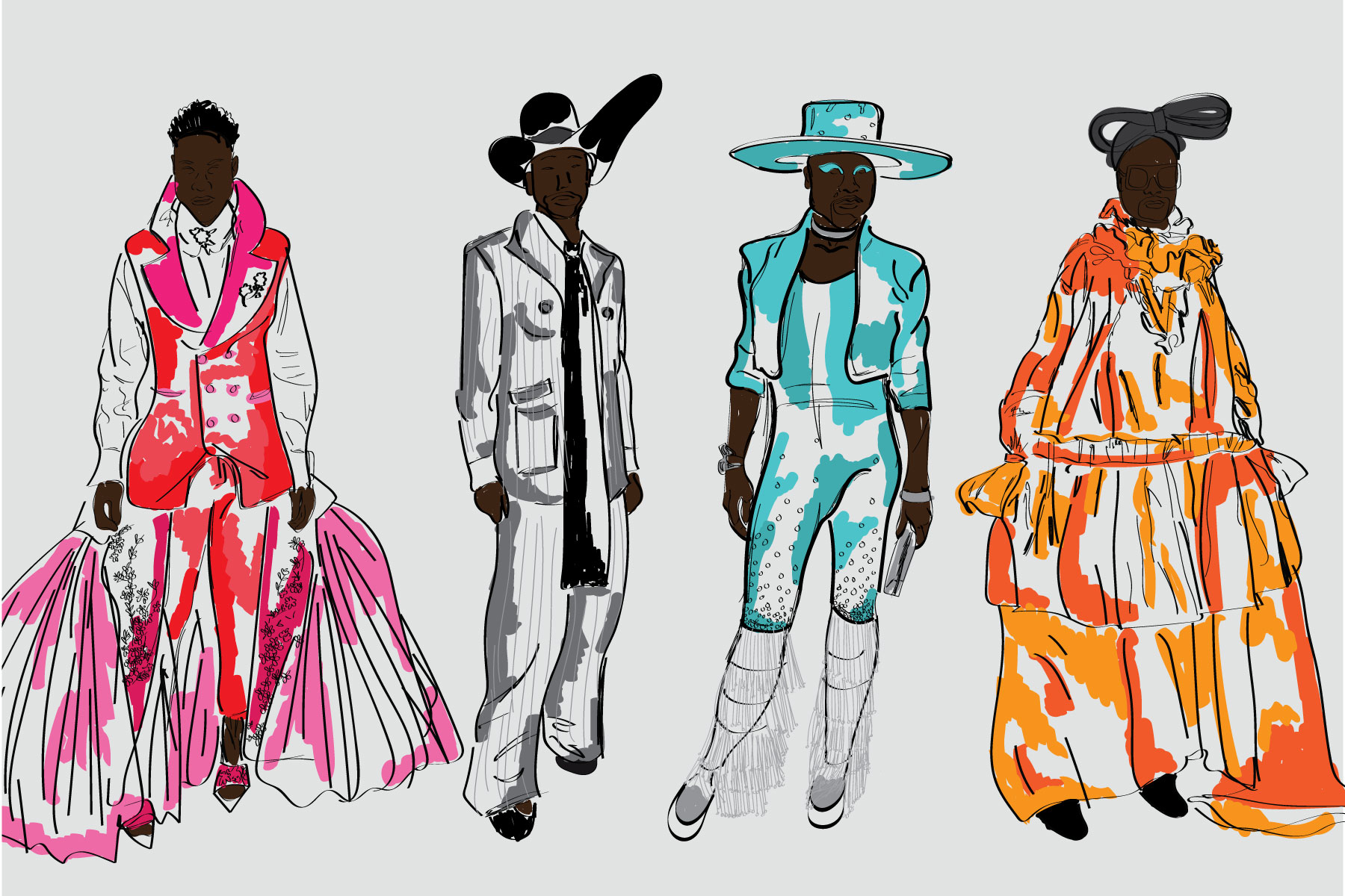 illustration of four black men modeling men's fashion