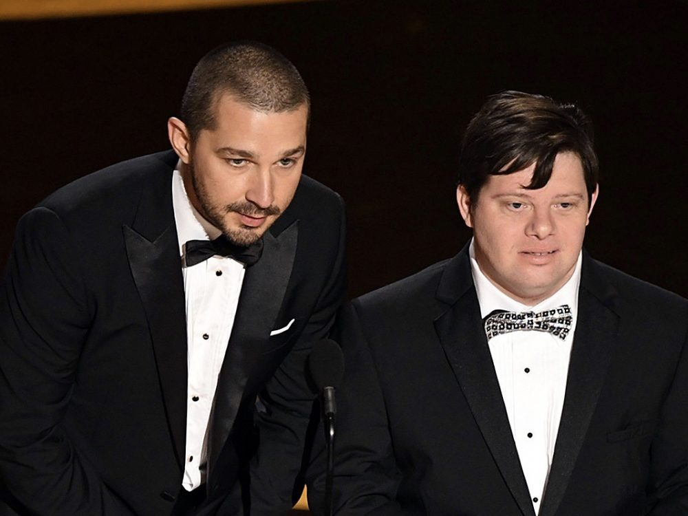 Shia LaBeouf and Zack Gottsagen Presenting at Awards Show