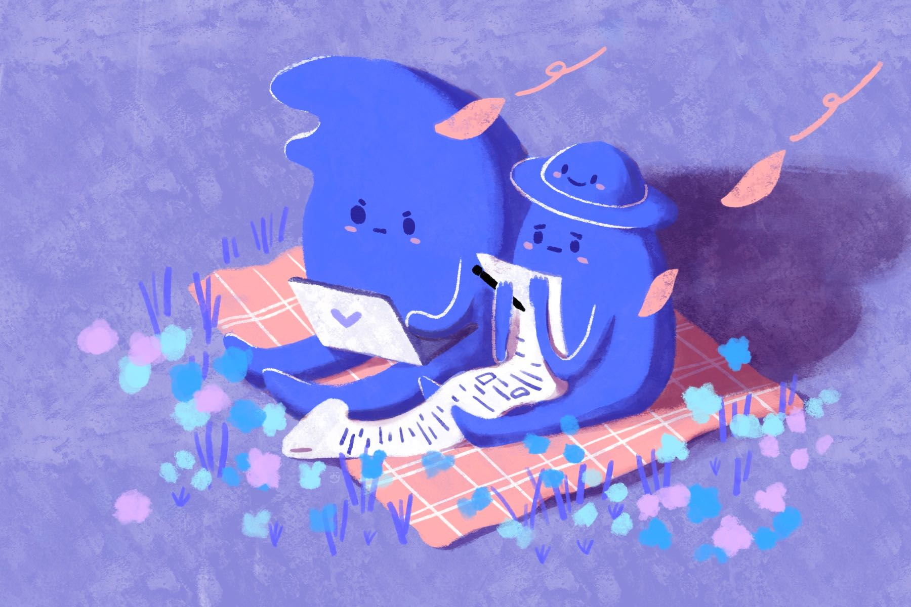 Two blue creatures reading on a picnic blanket in an article about writing