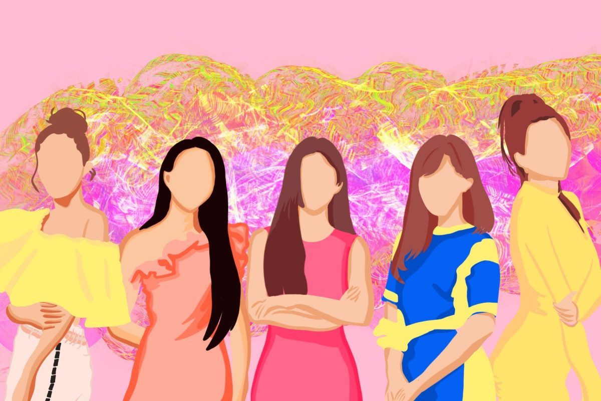Cartooned image of Korean girl group