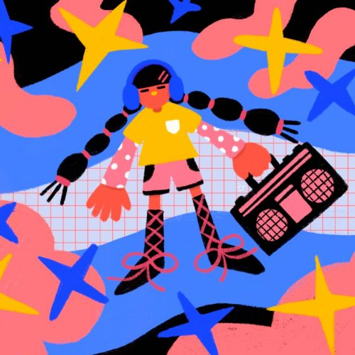 Illustration by Yao Jian a woman in pigtails with a boom box