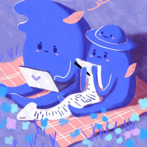 Illustration by Yao Jian on three blue creatures reading on a laptop and a long scroll