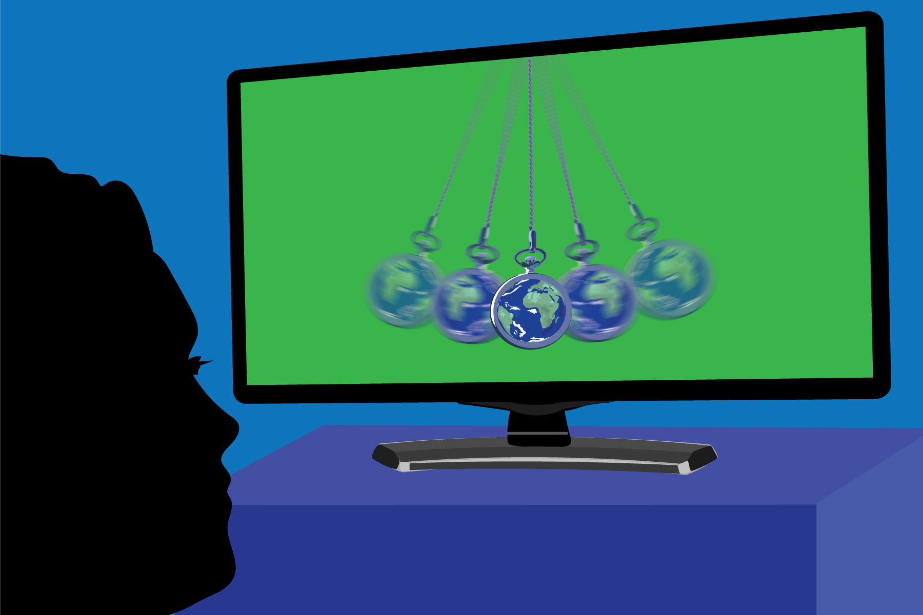 In an article about greenwashing, a green TV screen hypnotizing a viewer.