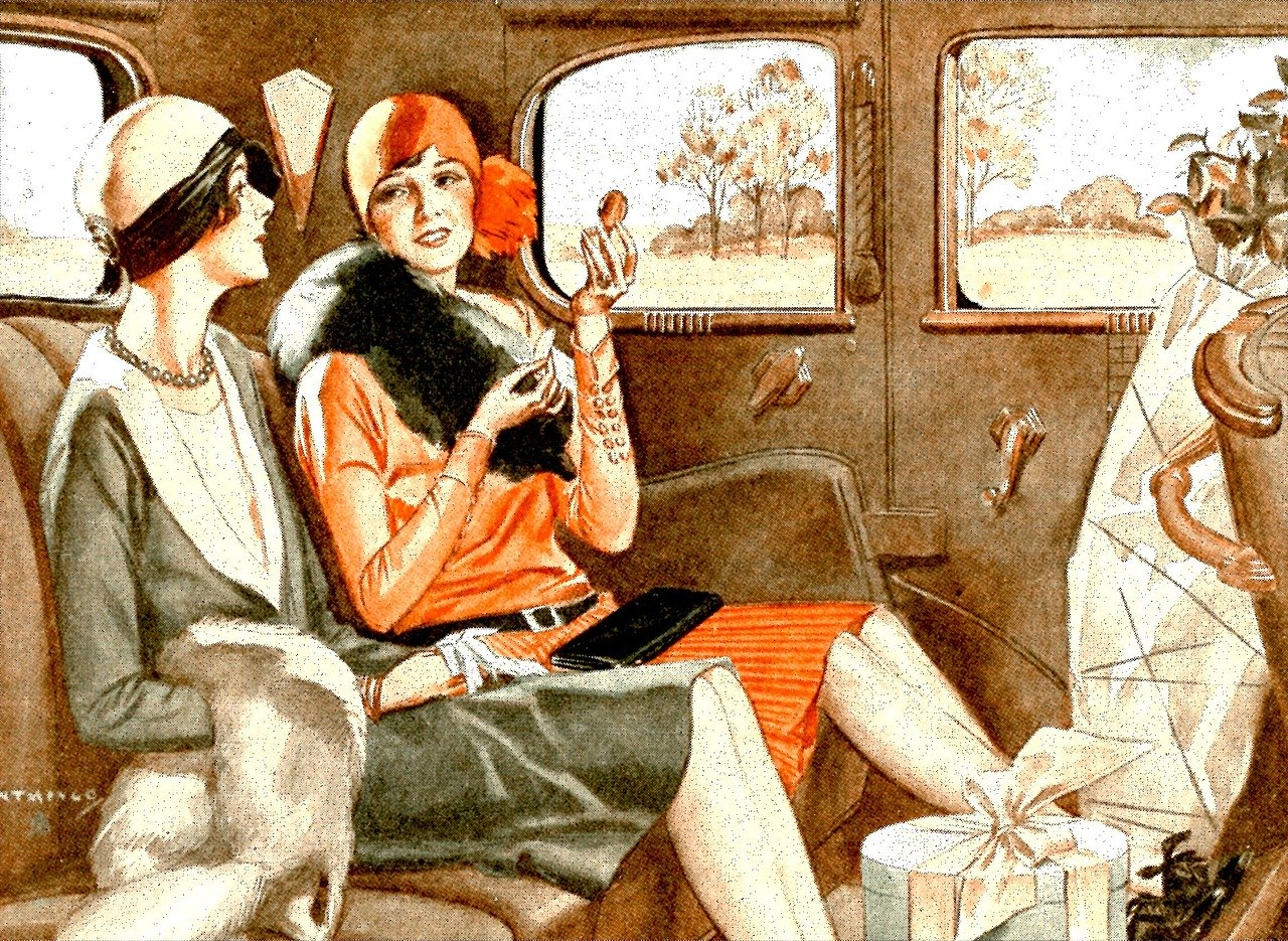 In an article about modern fashion, an illustration of two flappers in the back of an automobile