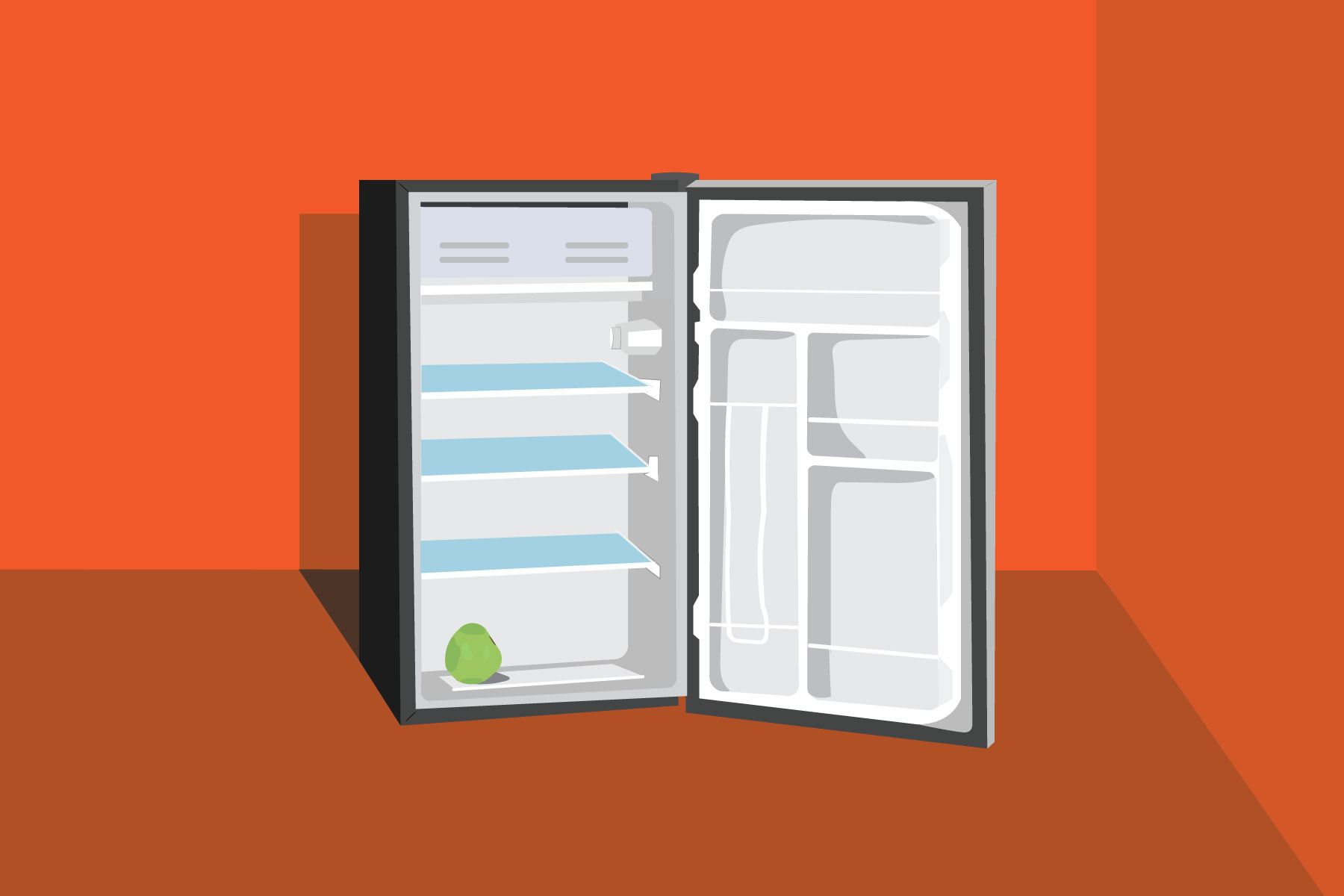 Illustration of empty fridge in an article about food insecurity
