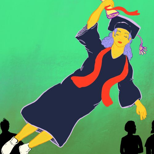 Illustration by Enacio Diaz of someone wearing a graduation cap and gown flying away