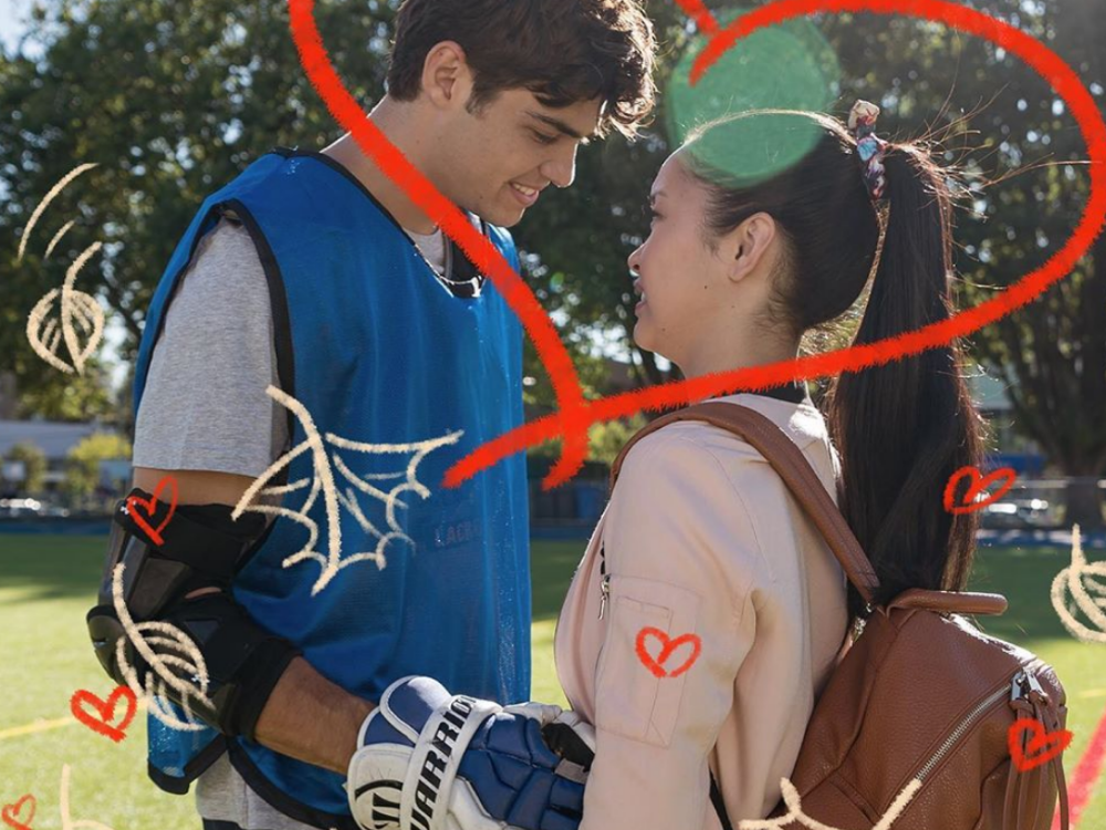 Noah Centineo (left) and Lara Condor (right) portrayed as Peter and Lara Jean