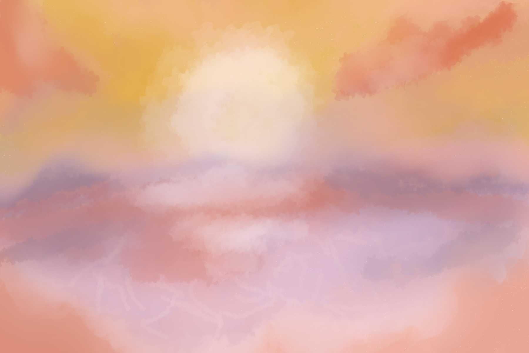 Illustration of a sunset in spring break