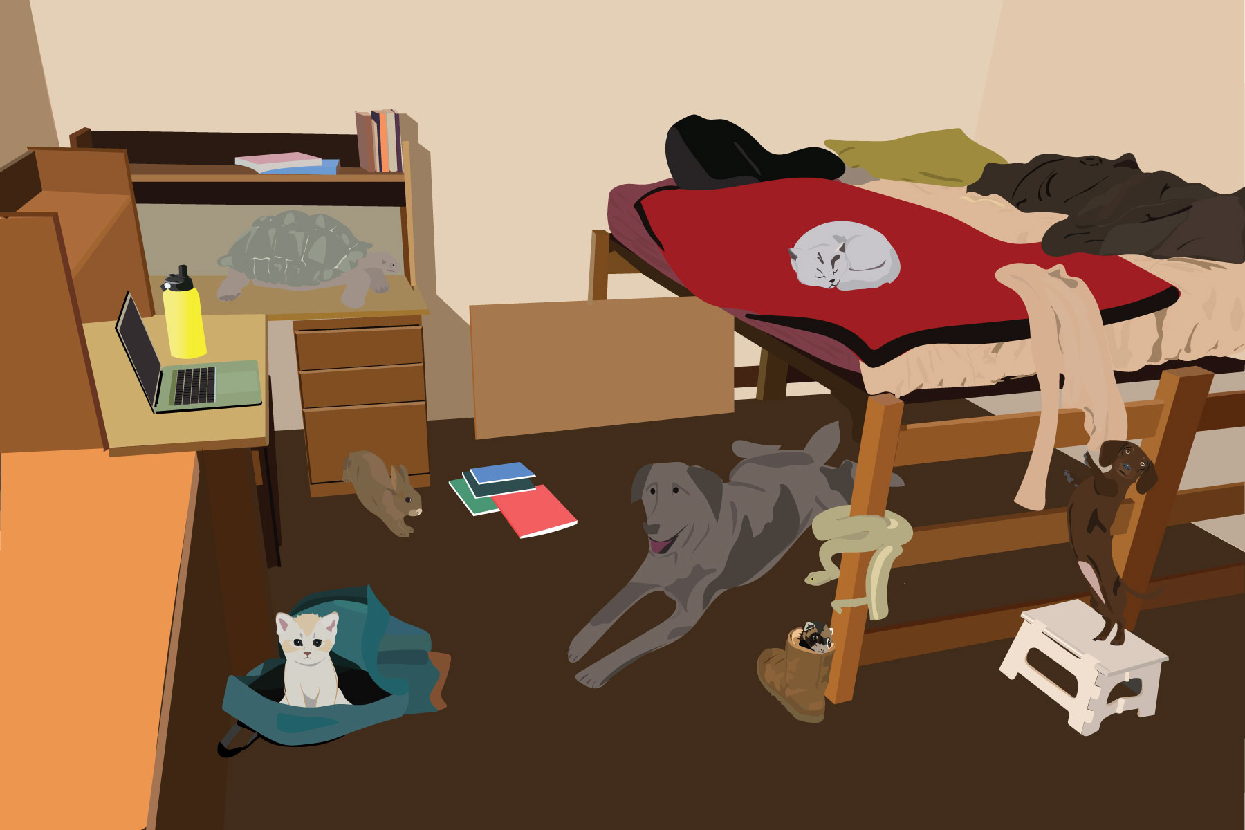 Illustration by Maya Vargas of several pets in a dorm room