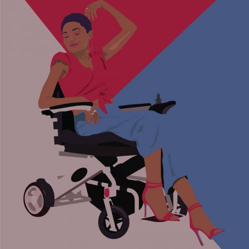 Illustration by Maya Vargas of a woman in a wheelchair