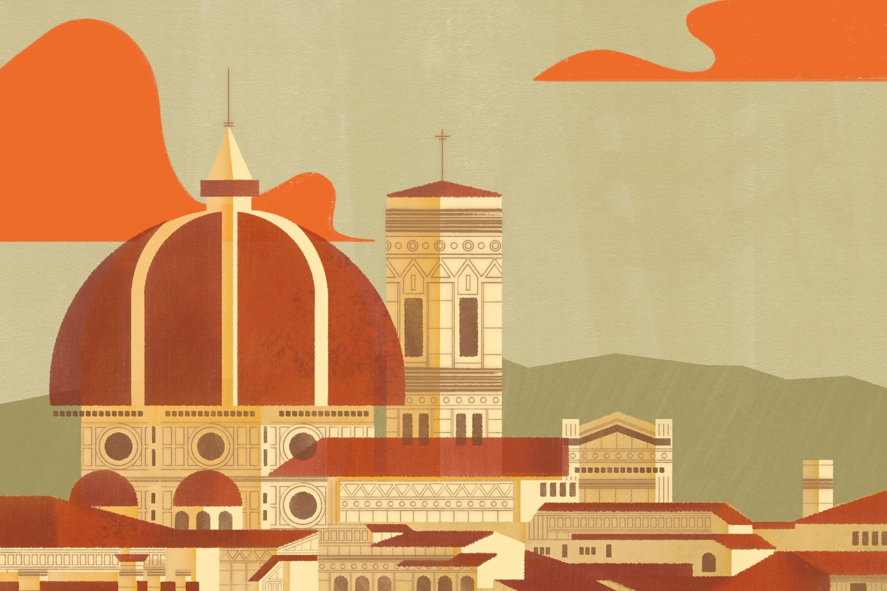 Illustration by Francesca Mahaney of church domes in Italy