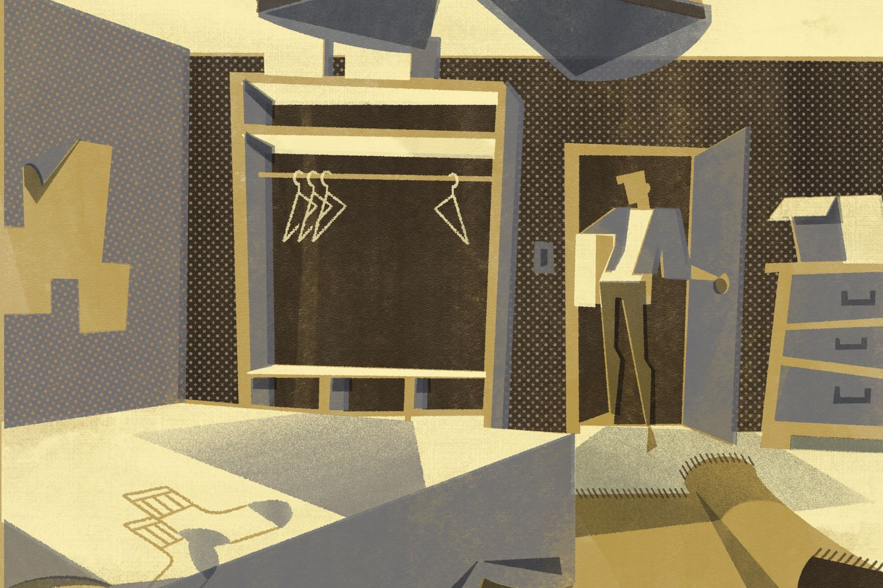 Illustration of dorm room, person moving out into their own space