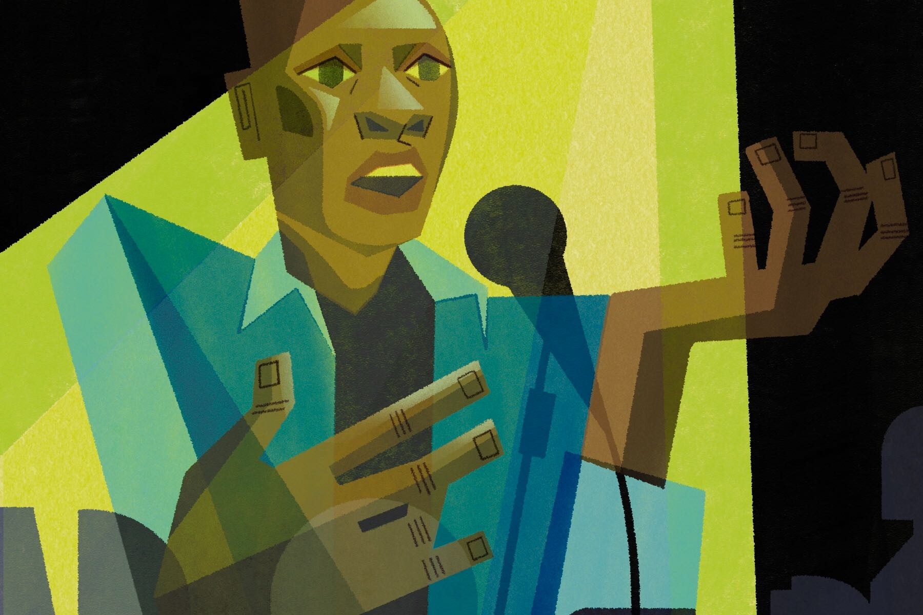 Illustration of a poet performing spoken word poetry