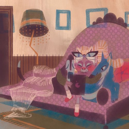 Illustration by Francesca Mahaney of an older woman on a couch watching videos on an iPad, snuggled next to two dogs