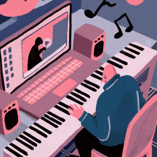 Illustration by Yao Jian of a person playing a keyboard in front of a computer with a tutorial on