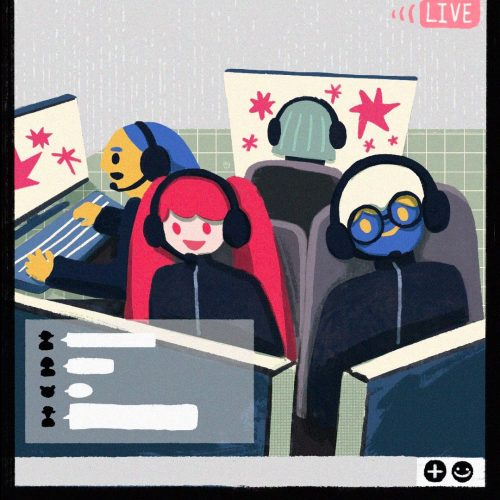 Illustration by Yao Jian of people playing computer games