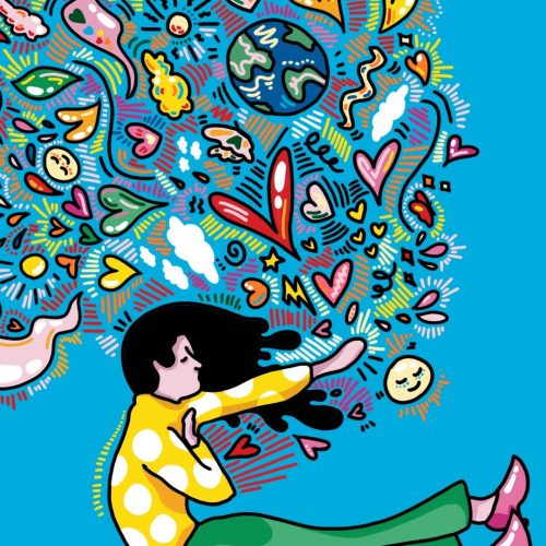 Illustration by Sarah Yu of woman in front of abstract symbols connoting peace