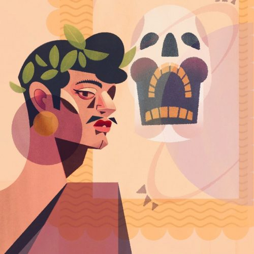 Illustration by Francesca Mahaney of a man wearing a laurel wreath, a tunic with a skull in the background