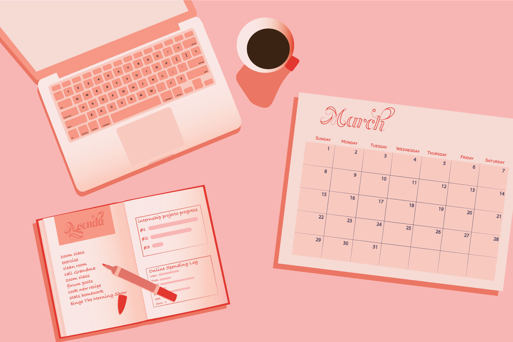 Illustration by Maya Vargas on a laptop, calendar and planner on desk in article about taking class from home