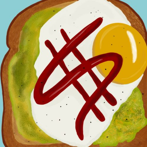 Illustration by Drew Parrott of a dollar sign written in sauce on an an avocado and egg toast