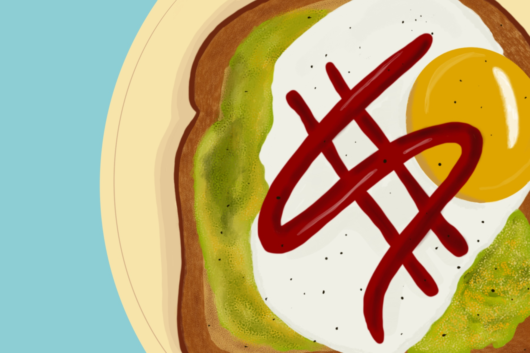 In an article arguing the popular idea that avocado toast is the problem with millenials, an illustation of toast topped with avocado, egg and ketchup is seen above.