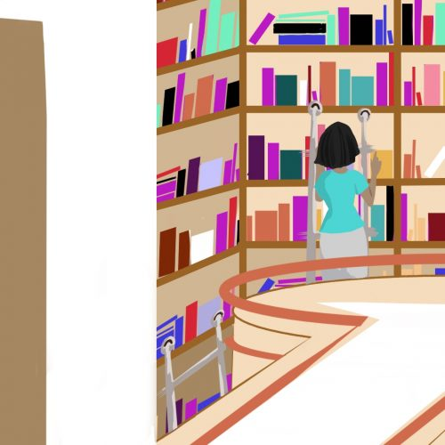 Illustration by Elizabeth Wong of someone in front of bookshelves in a university library