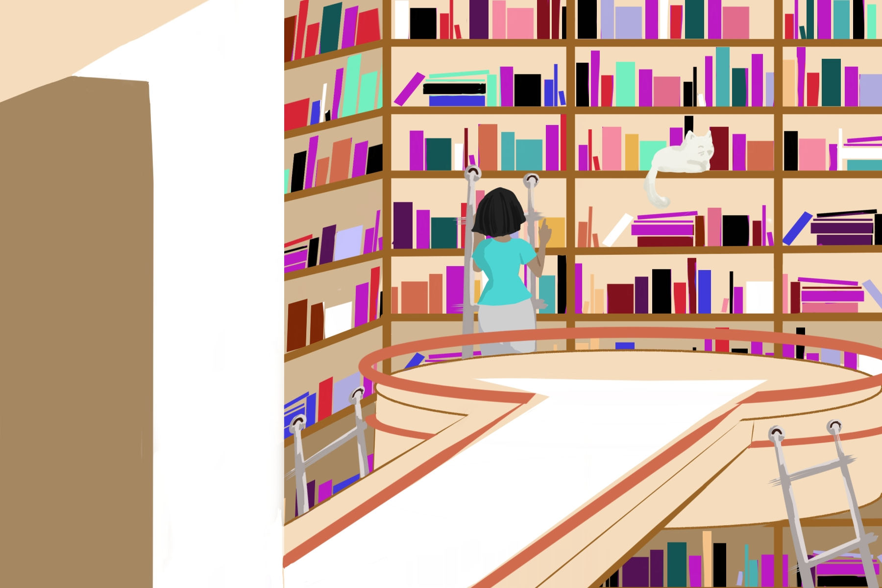An article discussing the importance of viewing cinema as art, Kanopy is a digital library giving access to users to a variety of films as seen in the illustration above depicting a women browsing library shelves.