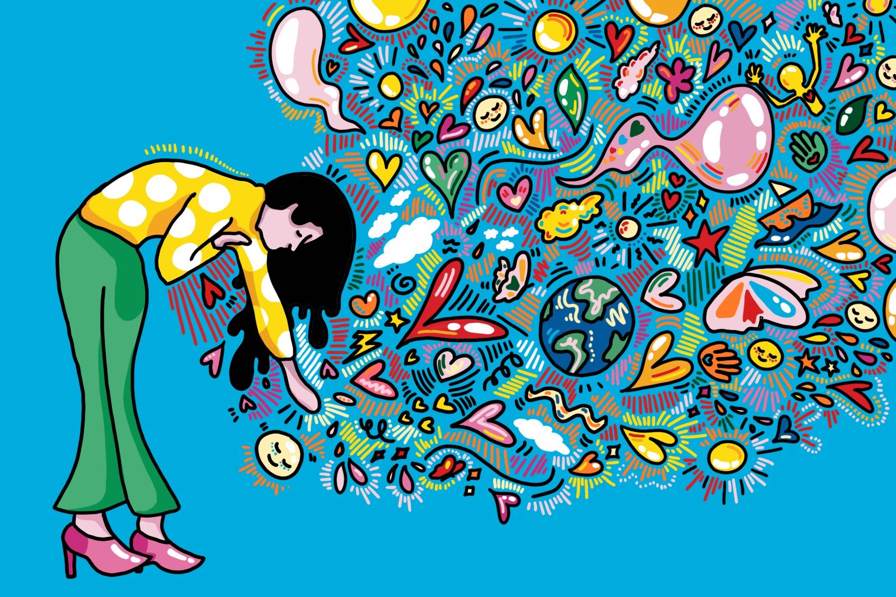 Tackling the realities of compassion fatigue in the 21st century, this illustration of a girl reaching out to an overwhelming wave of social issues.
