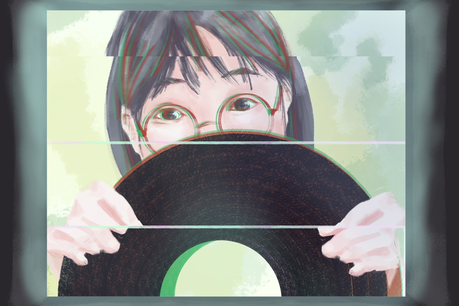 Drawing of Yaeji holding a record in a review of WHAT WE DREW.