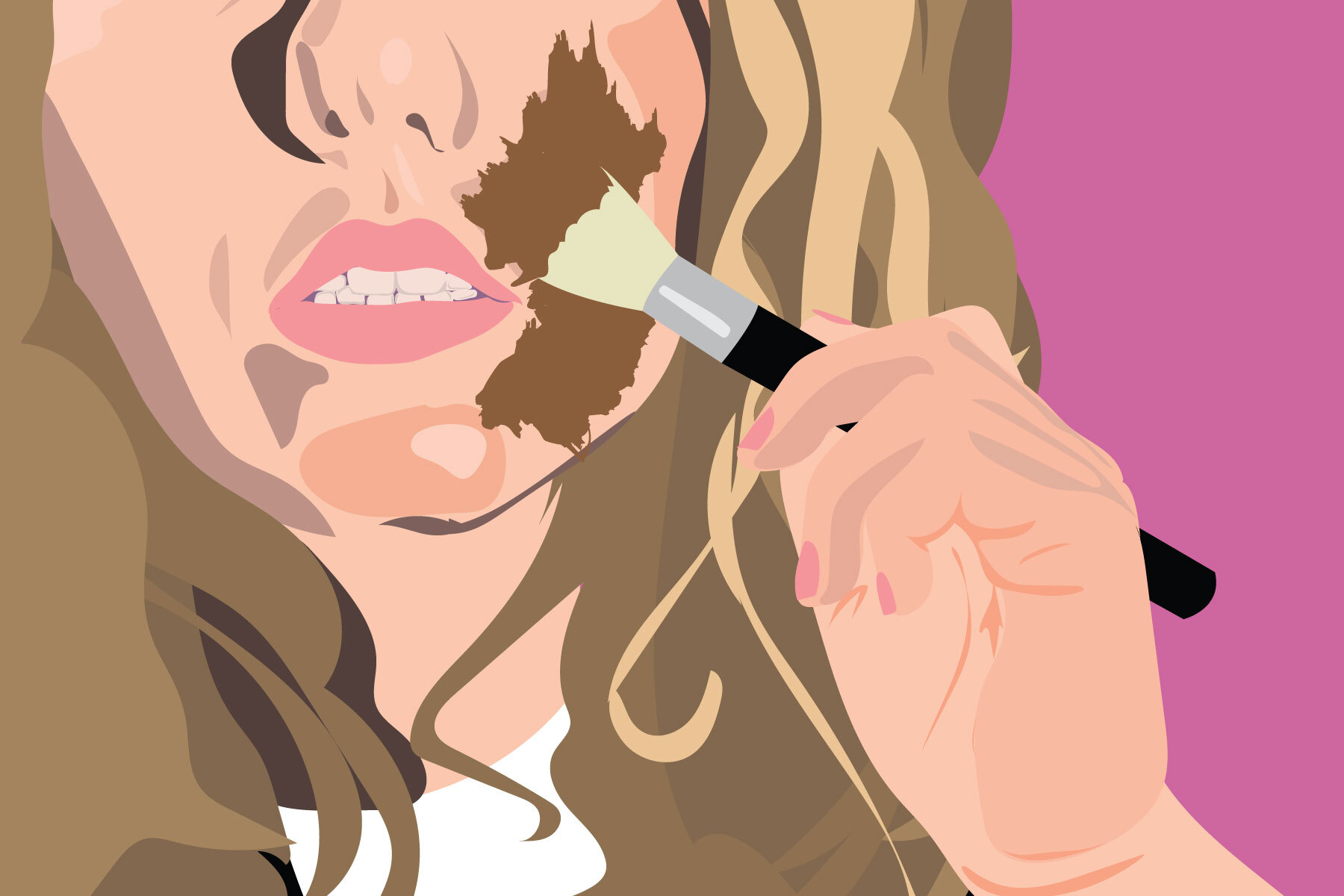 Illustration by Maya Vargas of a white woman painting her face a darker brown, or, blackfishing