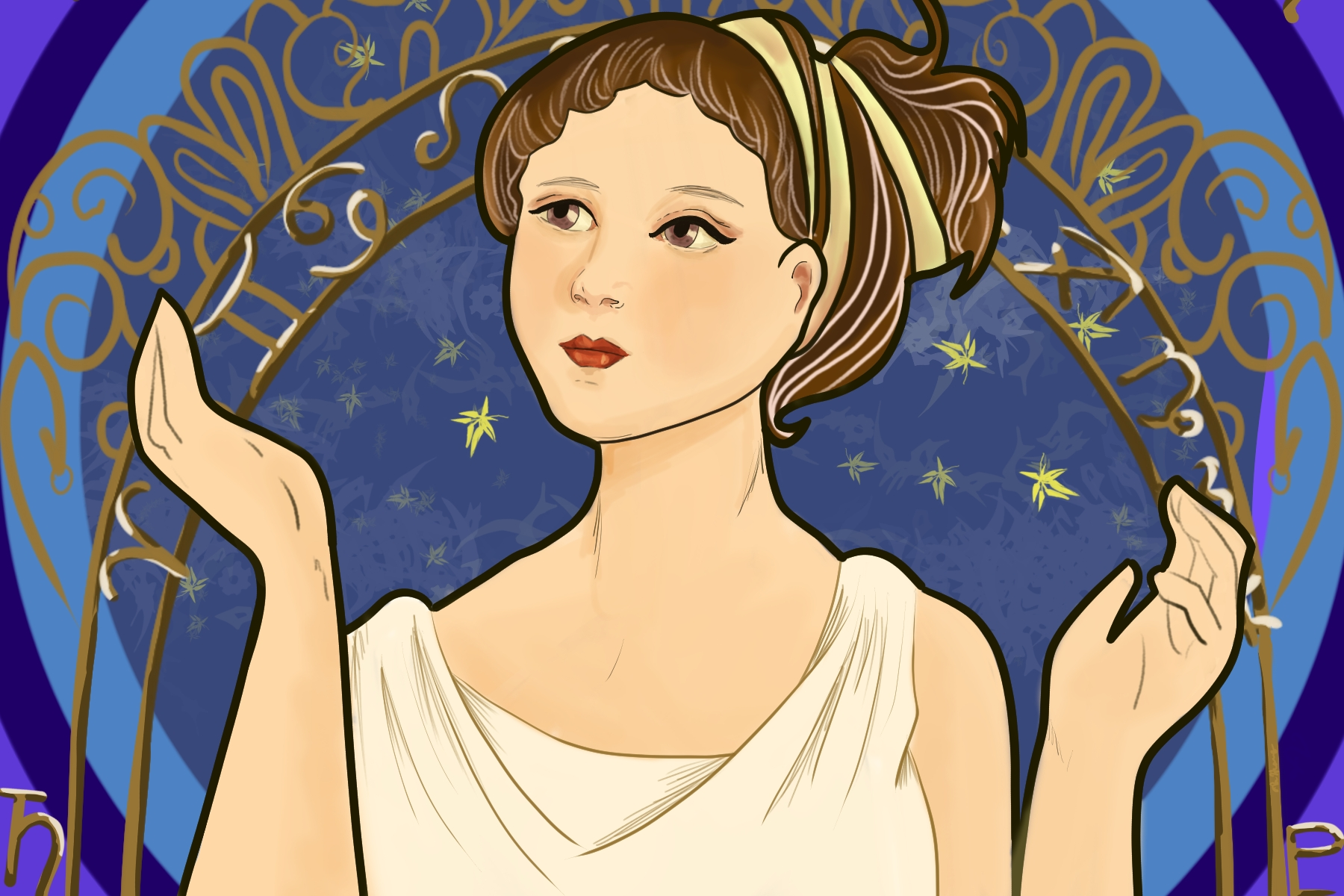 Illustration by Elizabeth Wong of a woman in a toga with a crown with signs of the Zodiac in an article about COVID-19