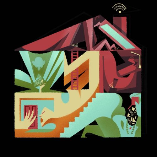 Illustration by Francesca Mahaney of human figures contorted into a house