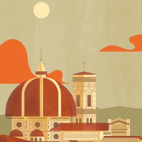 Illustration by Francesca Mahaney of domed buildings in Italy