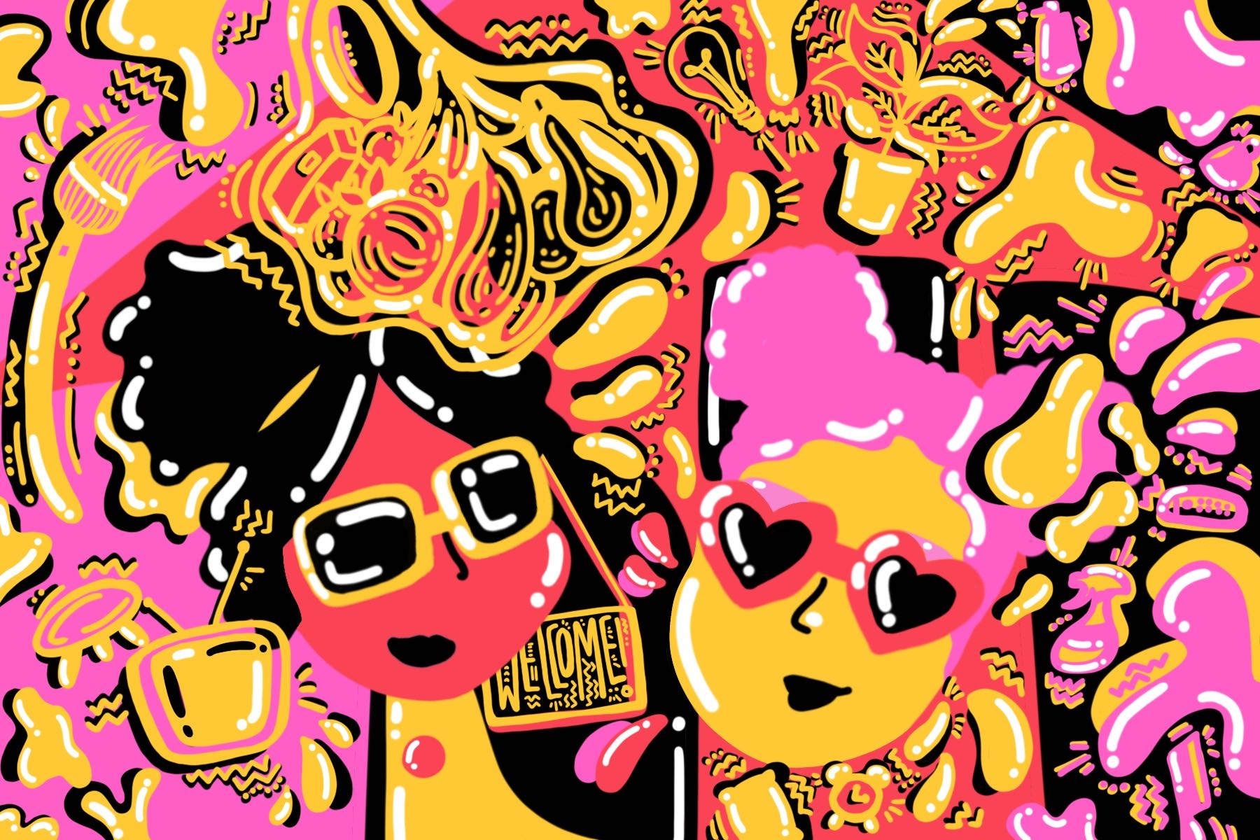 Illustration by Sarah Yu of two faces in sunglasses in an article about living with your best friend