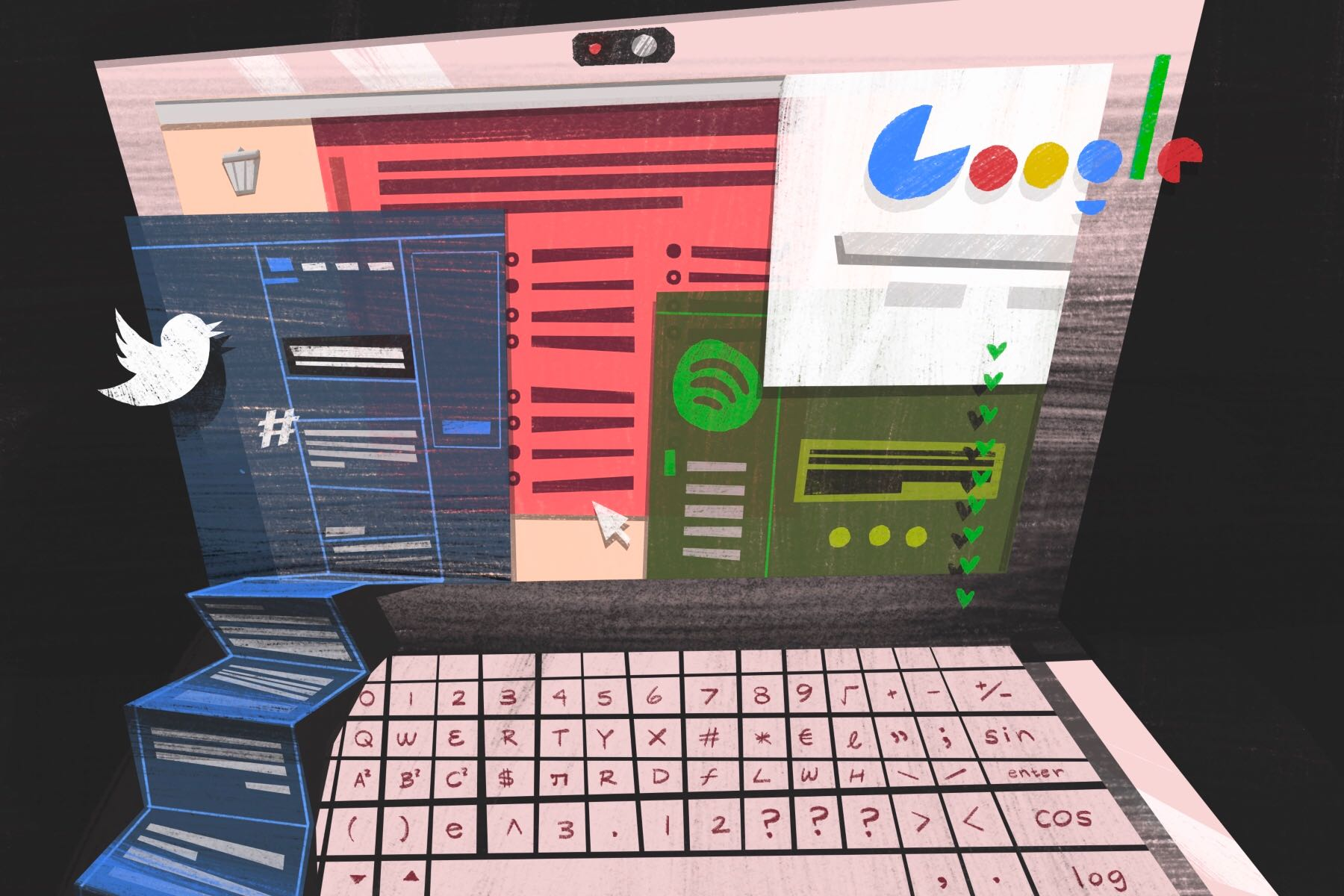 An illustration by Francesca Mahaney of a laptop screen filled with apps in an article about online exams